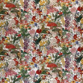 Chelsea - Profusion - Small, busy floral patterns covering 100% cotton fabric in colours such as dark red, emerald green, gold and light gre
