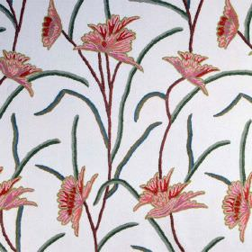 Classic Crewels - 0 - White cotton fabric featuring a repeated floral in red and pink, with green and brown stems and leaves