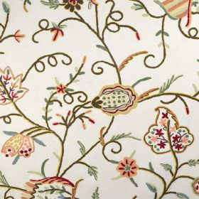 Classic Crewels 2 - 0 - Gold, orange, red, pink, green and white floral print cotton fabric