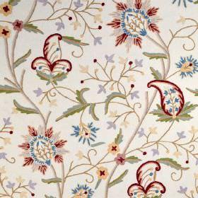 Classic Crewels - 0 - Red, blue, green, mauve, brown and cream florals, patterns and swirls on a background of white cotton fabric