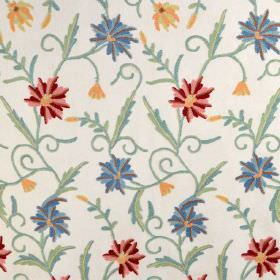 Classic Crewels - 0 - Green leaves with flowers in shades of red, blue and yellow on a white cotton fabric background