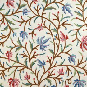 Classic Crewels - 0 - Cotton fabric in white, featuring a floral pattern made up of red and blue lines, with brown stems and green leaves