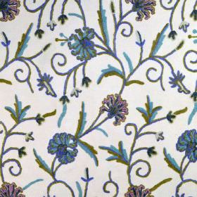 Classic Crewels - 0 - Dark purple, blue and green florals against a cotton fabric background in white