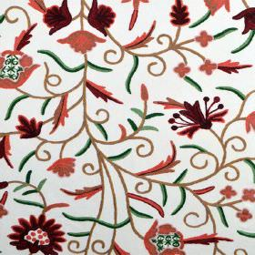 Classic Crewels 2 - 0 - White cotton fabric patterned with a floral design in green, brown, orange and very dark red