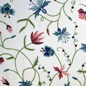 Classic Crewels 2 - 0 - Simple flowers in shades of red and blue alongside green stems and leaves on a background of white cotton fabric