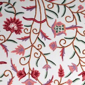 Classic Crewels 2 - 0 - Fabric made from white cotton, with a simple floral pattern in pink, lilac, red, brown and green
