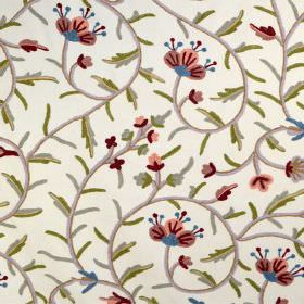 Classic Crewels 2 - 0 - A green, grey, pink, red and blue floral print pattern on white cotton fabric