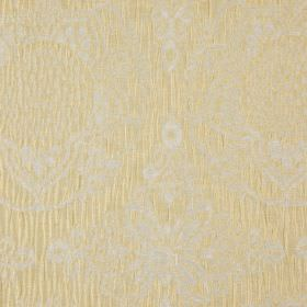 Tableau - Straw - 100% polyester fabric made with pretty, detailed patterns in similar, light shades of grey and warm cream