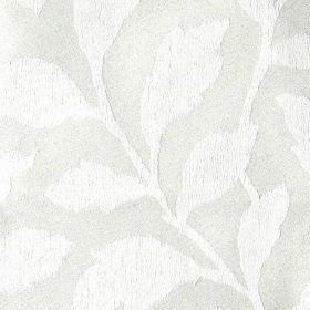 Epsom - Straw - Simple white leaves creating a stylish, elegant pattern on a light grey polyester and cotton blend fabric background