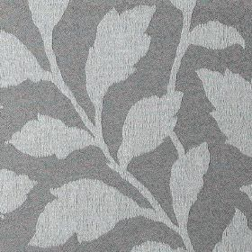 Epsom - Iron - Simple leaves creating an elegant pattern on polyester and cotton blend fabric in light and dark shades of grey