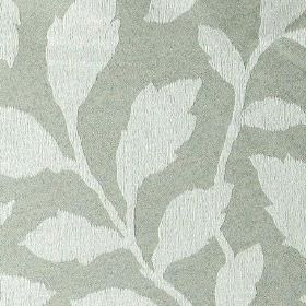 Epsom - Limestone - Mid-grey coloured polyester and cotton blend fabric patterrned with simple, elegant leaves in a pale shade of grey