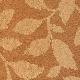 Epsom - Koi - Light apricot coloured leaves creating a simple, elegant pattern on an orange-brown polyester and cotton fabric background