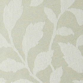 Epsom - Angora - Leaf patterned polyester and cotton blend fabric, featuring a simple, elegant design in two light shades of grey