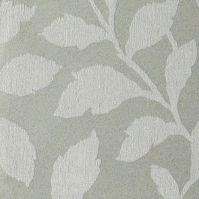 Epsom - Antique - Steel grey polyester and cotton blend fabric patterned with simple, elegant, ash grey coloured leaves