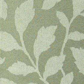 Epsom - Oatmeal - Fabric made from polyester and cotton in green-grey, with a light grey coloured pattern of simple, elegant leaves