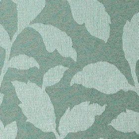 Epsom - Surf - Icy blue coloured leaves creating a simple, elegant pattern on fabric made from dusky marine blue polyester and cotton