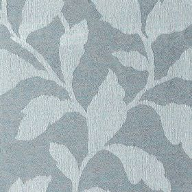 Epsom - Cloud - Dusky blue and powder blue coloured polyester and cotton blend fabric, patterned with simple, elegant leaves