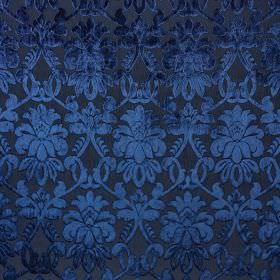 Ferrara - Orizzonte - Fabric made from very dark blue coloured 100% polyester, with elegant, luxurious, detailed patterns in rich Royal blue