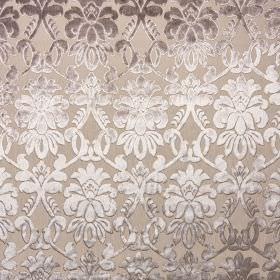 Ferrara - Bruno - Fabric made from light grey 100% polyester, with an elegant, detailed pattern fading from dark grey to silvery white