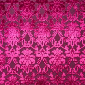 Ferrara - Rosa - Bright magenta coloured patterns creating an elegant, detailed, shaded pattern on dark purple 100% polyester fabric
