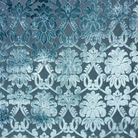 Ferrara - Celeste - Light, elegant shades of marine blue making up a stylish, detailed pattern on fabric made from 100% polyester