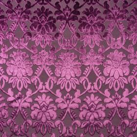 Ferrara - Violetto - 100% polyester fabric made in dark purple, patterned with elegant, detailed designs shaded in lustrous purple tones