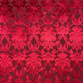 Ferrara - Vino - Rich ruby coloured tones creating an elegant, detailed, shaded pattern on100% polyester fabric in very dark red
