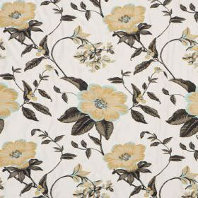 Boboli - Mineral - Hard wearing fabric in white, printed with dark grey leaves and flowers in shades of gold