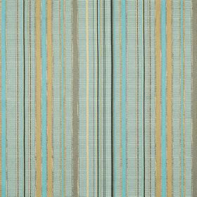 Giovanni - Mineral - Stripes of duck egg blue, aqua blue, cream and gold running down this hard wearing fabric