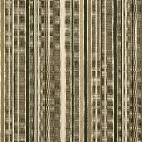 Giovanni - Truffle - Vertical stripes of green-grey, between cream, black and gold bands on fabric which is hard wearing