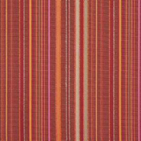 Giovanni - Prune - Fabric which is hard wearing and striped in dark red, orange, pink and grey