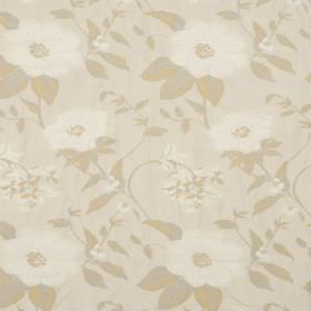 Boboli - Dune - Off-white coloured flowers printed with light gold coloured leaves on a light cream hard wearing fabric background