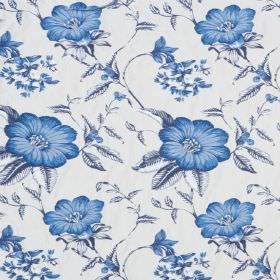 Boboli - Delft - Cobalt blue flowers with shaded blue and white leaves on a background of white hard wearing fabric