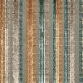Raphael - Mineral - Shimmering stripes of gold, silver and dark duck egg blue on a plain grey fabric background