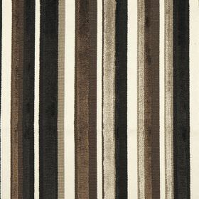 Raphael - Truffle - Black, dark brown, silver and white striped fabric, with a slightly shimmering texture