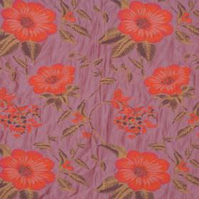 Boboli - Prune - Purple-pink hard wearing fabric with a floral design in bright red and different shades of brown