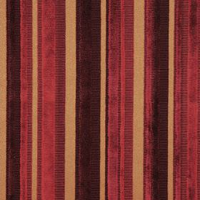 Raphael - Sierra - Slightly textured, striped fabric in dark purple, dark red and gold