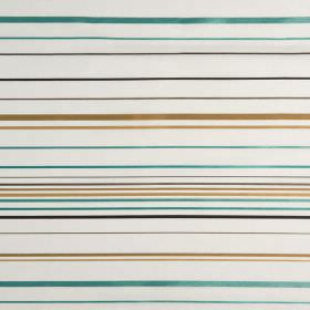 Santa Croce - Sierra - Stripes in shades of gold, turquoise, black and grey printed horizontally on white hard wearing fabric