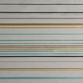 Santa Croce - Liquorice - A horizontal striped pattern in golds, aqua blue, black, grey and white, on fabric which is hard wearing