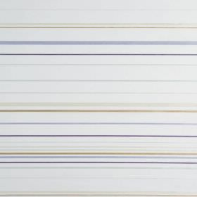 Santa Croce - Dune - Narrow beige, grey, cream and purple stripes running horizontally across hard wearing fabric in white