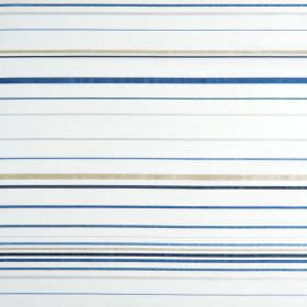 Santa Croce - Delft - Hard wearing fabric with a horizontal striped pattern in white, grey and several different shades of blue