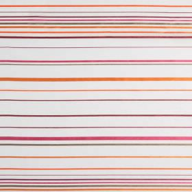 Santa Croce - Confetti - Narrow horizontal stripes of orange, purple, pink and grey on a white hard wearing fabric background