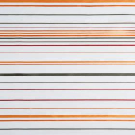 Santa Croce - Sierra - Hard wearing fabric in white, featuring narrow horizontal stripes of orange, pink and grey