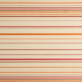 Santa Croce - Sangria - Orange, pink, dark red and grey making up a horizontal striped pattern for this cream coloured hard wearing fabric