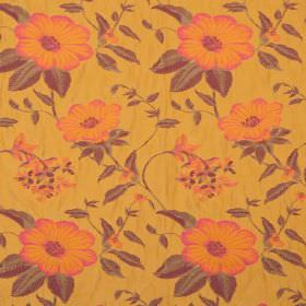 Boboli - Sierra - Orange and pink shaded flowers with leaves shaded in green and black, on light orange hard wearing fabric