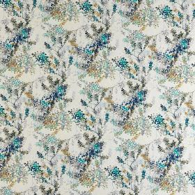 Camille - Pervenche - Small, dotted, delicate florals printedin pale grey and bright and dark shades of blue on fabric made from 100% cotto