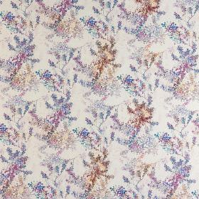 Camille - Bon-Bon - White 100% cotton fabric printed with a delicate, detailed, dotted floral pattern in pastel blue, beige and purple shades