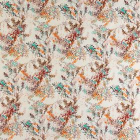Camille - Citrouille - Dark red, bright orange, aqua blue and light grey coloured dotted florals on an off-white 100% cotton fabric backgrou