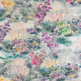 Claude - Bon-Bon - Midnight blue, blush pink, orange and violet shades making up a slightly smudged, cloudy tree print on 100% cotton fabric