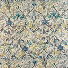 Pierre - Pervenche - A detailed design of flowers and patterns covering viscose, linen and cotton blend fabric in beige, grey and blue shade